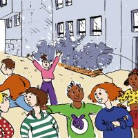 illustration couverture d'une brochure pédagogique d'une société de HLM
